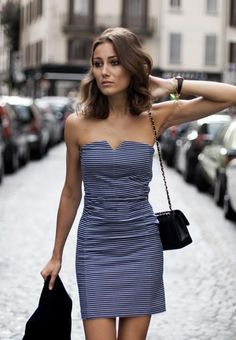 Simple strapless dress for summer
