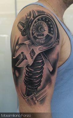 Asombrosos y realistas tatuajes de herramientas mecanicas Harley Tattoos, Biker Tattoos, Racing Tattoos, Motorcycle Tattoos, Gear Tattoo, Tool Tattoo, Tattoo Model Female, Tattoo Models, Est Tattoos