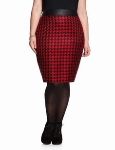 Leather Panel Houndstooth Skirt | Plus Size Pencil Skirts | eloquii by THE LIMITED