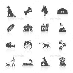 Buy Dog Icons Set by macrovector on GraphicRiver. Pet icons set with dog walking running guard isolated vector illustration. Editable EPS and Render in JPG format Free Business Card Templates, Event Flyer Templates, Dog Icon, Dog Branding, Horse Silhouette, Glyph Icon, Dog Logo, Banner Printing, Animal Logo