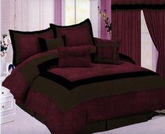 Micro Suede Bedding Comforter Set Queen Burgundy and Brown Bed Comforter Sets, Comforters, Brown Comforter, Bedroom Colors, Bedroom Decor, Beige Bed Linen, Toddler Girl Bedding Sets, Luxury Bedding Collections, Decoration