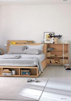 New bedroom vintage small bed frames ideas Home Bedroom, Bedroom Furniture, Furniture Design, Muji Home, Bedroom Vintage, Bed Design, Room Decor, Light Oak, Diy Furniture