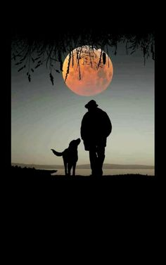 Nick and Archie. Beautiful Moon Pictures, Beautiful Nature Wallpaper, Silhouettes, Smoke Painting, Shoot The Moon, Man And Dog, Moon Magic, Silhouette Art, Moon Art