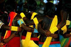 * Women Tribe of Indians Xicrin dancing, city Paraopeba, Pará - Brazil *