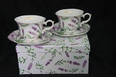 "Tee- Kaffeetassenset 4teilig ""Lavendel"" Porzellan mit Geschenkbox Tableware, Atelier, China China, Anniversary, Lavender, Holiday, Packaging, Birthday"