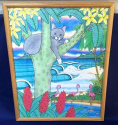 Brett Keast TROPICAT Signed Numbered LTD Print Framed 14x11 Island Cat Flamingos