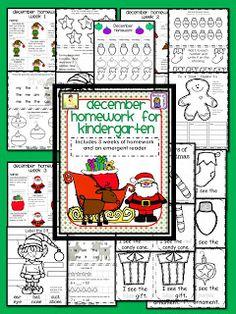 Joy of Kindergarten- December Monthly Homework Packet for Kindergarten