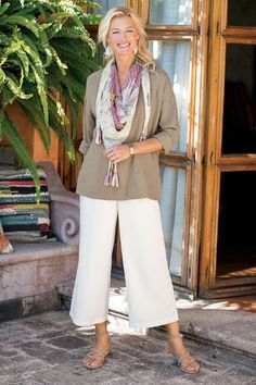 "In Spring's easy new style, our resort-worthy Tencel®️ lyocell culottes are cool, cute and comfy with back welt pockets, a self-belt with a D-ring buckle and a pull-on elastic waistband. Misses 22"" inseam. Sits at natural waist. Cool Culottes #28591"