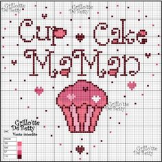femme - woman - broderie - embroidery - cup cake - maman - Point de croix - Blog : http://broderiemimie44.canalblog.com/
