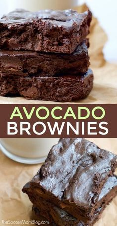 "You know those days where you just need a little chocolate in your life — but you don't want to eat something super heavy? These Chocolate Avocado Brownies are the perfect solution! desserts ""Too Good to be True"" Chocolate Avocado Brownies Chocolate Avocado Brownies, Healthy Brownies, Brownie Desserts, Brownie Recipes, Vegan Chocolate, Brownies With Avocado, Healthy Chocolate Desserts, Dark Chocolate Recipes, Zucchini Brownies"