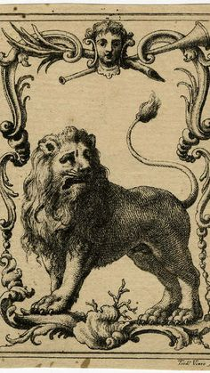 Teodoro Viero (1740-1819), bookplate for the artist depict a lion / British…