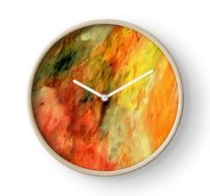 Wall Clock, print,artistic,decorative,items,modern,beautiful,awesome,cool,home,office,wall,decor,decoration,theme,picture,stylish,classy,gifts,presents,ideas,for sale,colorful,orange,yellow,abstract,redbubble