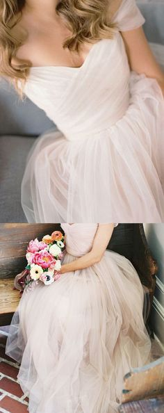 Simple Wedding Dress,Beach Wedding Dresses,A-Line Off-Shoulder Tulle Bridal Dress,Long Prom Dress,Off-the-shoulder Prom Dress,N106