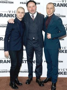 """Director Paul McGuigan, center, poses with actors Daniel Radcliffe and James McAvoy during the """"Victor Frankenstein """" New York premiere on Nov. 10, 2015, in New York City.   John Lamparski, WireImage"""