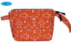 NEW Organic Orange Robots Makeup Zipper Bag  Makeup Bag  by SewFlo, $21.99