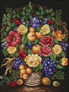 Gallery.ru / Фото #12 - Ухание на есен - irislena Cross Stitch Fruit, Cross Stitch Rose, Cross Stitch Flowers, Flowers For You, Pretty Flowers, Cross Stitch Designs, Cross Stitch Patterns, Flower Canvas, Canvas Designs