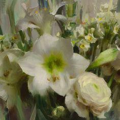 Daniel Keys, Daniel J, Oil Painting Flowers, Floral Paintings, Oil Paintings, Formal Garden Design, Still Life Art, Ranunculus, Botanical Art