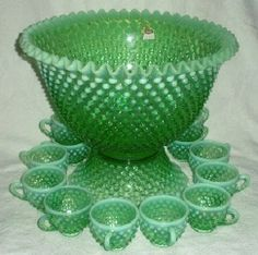 Fenton Hobnail Connoisseur Collection Punch Set- In Green