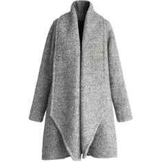 Chicwish Simple Grey Flared Woolen Coat ($127) ❤ liked on Polyvore featuring outerwear, coats, jackets, coats & jackets, grey, wool coat, flare coat, shawl collar wool coat, raglan sleeve coat and gray coat