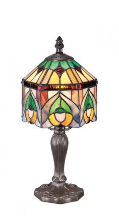 "Quoizel ""Chamille"" mini tiffany table lamp. Vintage bronze finish and stands, 12.5""h by 6""w. Reg. 78.80 Our Price $49.99"