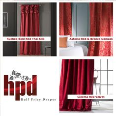 Shop by color and indulge your bold side. See all our festive red curtains at www.halfpricedrapes.com/color/red/1805/curtains-drapes.html #HPD #HalfPriceDrapes #Red #Curtains #Custom #Blackout #Drapes #InteriorDesign #HomeDesign #TrendAlert #Color #Style #Modern #Winter #Silk #Cotton #Velvet #Blackout #Linen #Design Faux Silk Curtains, Striped Curtains, Cotton Curtains, Velvet Curtains, Drapes Curtains, Metal Curtain, Blackout Drapes, Room Darkening Curtains, Window Styles