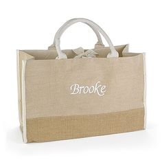 Custom Natural Jute Personalized Tote Bags gift idea! http://bustlingbride.carlsoncraft.com/Wedding/Wedding-Party-Gifts/ZB-ZBKX61022P-Custom-Natural-Jute-Tote-Bag--Large.pro