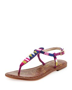 Gail Beaded Flat T-Strap Sandal, Blue/Purple - Sam Edelman