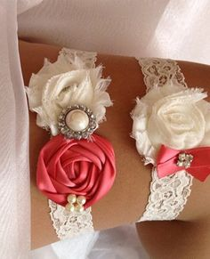 Bella Cosa Boutique — Coral Wedding Garter Set