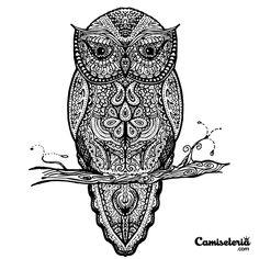 Camiseta 'Tattoowl' - Catalogo Camiseteria.com | Camisetas Camiseteria.com - Estampa, camiseta exclusiva. Faça a sua moda!