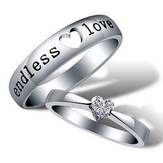 2016 Heart Zircon Endless Love Engagement Ring ,Wedding Couple Rings Aneis de Diamante Mens Rings #Aneis, #Rings