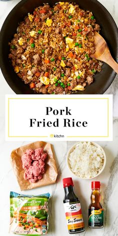 This Pork Fried Rice Is Ready in 15 Minutes - - Tossed with crumbles of ground pork, a couple eggs, and frozen vegetables, a pan of savory pork fried rice is one of the most satisfying and quickest meals to make with leftover rice. Quick Meals To Make, Easy Meals, Fried Rice Recipe Chinese, Shrimp Fried Rice, Pork Fried Rice Easy, Fried Rice Recipes, Cooked Pork Recipes, Homemade Fried Rice, Thai Fried Rice