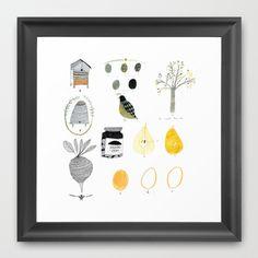 Food things. Framed Art Print by Kat Frank Illustration. - $32.00
