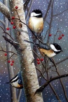 These chickadees wait out a winter snow storm in a berry filled tree in Cynthie Fisher's print Woodland Sprites. Pairs well with other Cynthie Fisher bird prints such as Garden Visitors Comes in an op Winter Painting, Winter Art, Winter Snow, Christmas Paintings, Christmas Art, Watercolor Bird, Watercolor Landscape, Wildlife Art, Bird Prints
