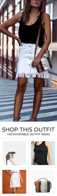 #summer #outfits  Black Tank   White Fringe Denim Skirt