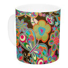 East Urban Home My Butterflies & Flowers by Julia Grifol 11 oz. Ceramic Coffee Mug