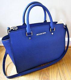 Michael Kors Large Selma TopZip Satchel CADET BLUE Saffiano leather Tote Bag NWT