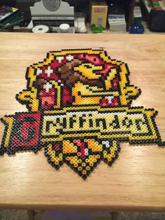 Items similar to Gryffindor Crest on Etsy Melty Bead Patterns, Bead Crochet Patterns, Perler Patterns, Beading Patterns, Perler Bead Designs, Perler Bead Art, Fuse Beads, Pearler Beads, Pixel Art