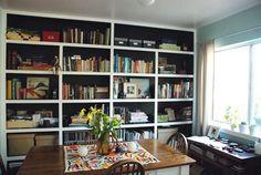 black and white bookshelves