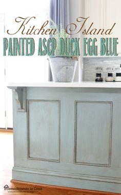 Painted Kitchen Island, Blue Kitchen Island, Painted Island, Kitchen Island Makeover, Farmhouse Kitchen Island, Kitchen Paint, Kitchen Redo, New Kitchen, Kitchen Design