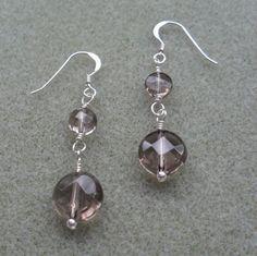 Smoky Quartz Dangle Drop Sterling Silver Earrings £12.95