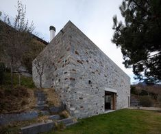 Stone House KÜ in Brione sopra Minusio, Ticino, Switzerland. Photography Juan Rodriguez (but why no windows? Architecture Awards, Gothic Architecture, Architecture Design, Stone Cabin, New Urbanism, Old Stone Houses, Concrete Houses, Small Buildings, Brick And Stone