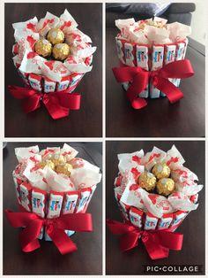 Kinder-Ferrero-Raffaello Basteltorte DIY – Birthday Presents Bouquet Cadeau, Gift Bouquet, Candy Bouquet, Birthday Diy, Birthday Gifts, Birthday Celebration, Homemade Gifts, Diy Gifts, Chocolate Bouquet Diy