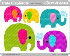 - Cute Elephants - Digital Clip Art - Personal and Commercial Use - jungle cute animals nursery pattern on Etsy Happy Elephant, Elephant Nursery, Cute Elephant, Pink Elephant, Elephant Print, Animal Nursery, Digital Scrapbook, Nursery Patterns, Clip Art