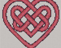 Cross Stitch Pattern Red Heart Knot PDF Emailed Craft Celtic Symbol Irish Unity Love Wedding Handfasting