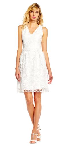 Adrianna Papell   Sleeveless Lace Fit and Flare Dress with V-Neckline