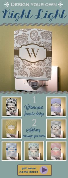 "LOVE this! You can design your own night light with any pattern and you can add your name, monogram or any message like ""bless this house"" ... this is such a cool idea! Great housewarming gift idea!"