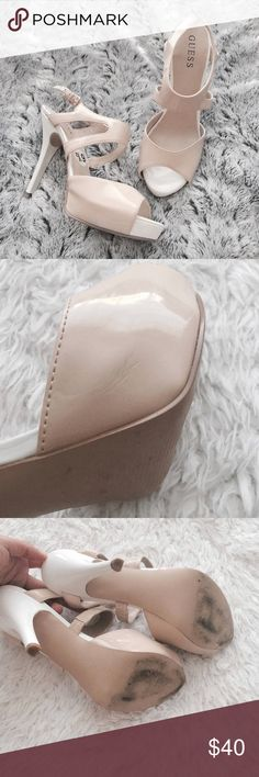 Guess Cut Out Platform Heels White & beige. Ankle straps. Worn once, light surface scratches; see photos provided. About 1un platform & 4.5in heel.   •USE OFFER FEATURE TO NEGOTIATE  •BUNDLE TO SAVE  •NO OUTSIDE TRANSACTIONS •NO TRADES Guess Shoes Heels