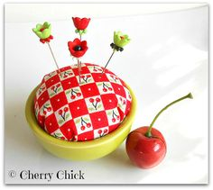 Pincushion,  Decorative Pins,  Pin Toppers,  #Cherries by CherryChick #MaryEngelbreit