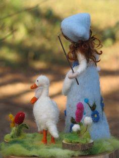 Needle felted goosegirl waldorf inspired van Made4uByMagic op Etsy