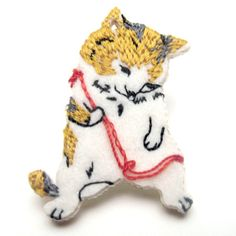 How cute~ Embroidered cat